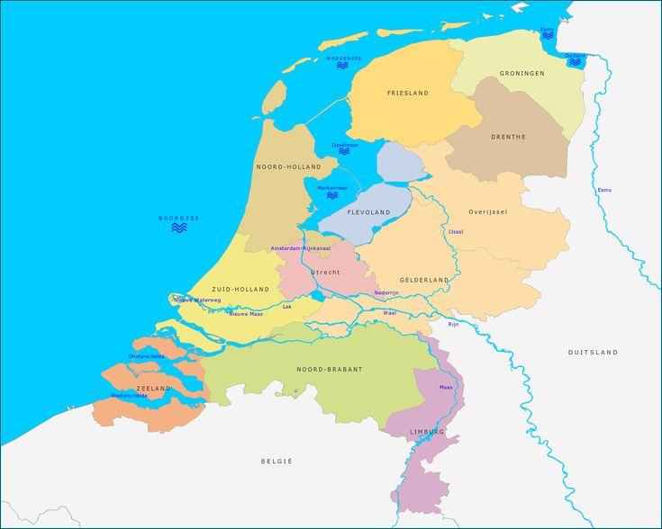 Grote kaart Grote rivieren en wateren van Nederland