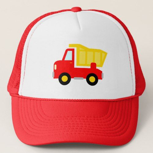 aee8091150c45 Cute red toy dump truck trucker hat for kids