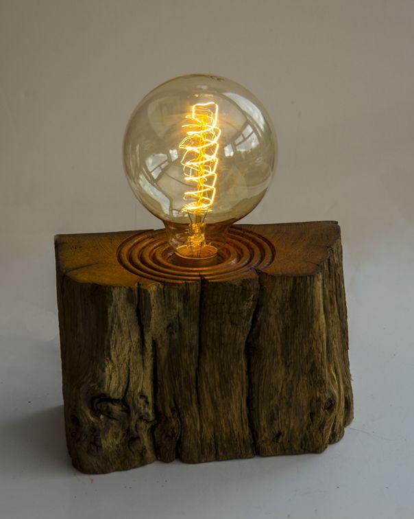 Old oak beam lamp for vintage bulbs