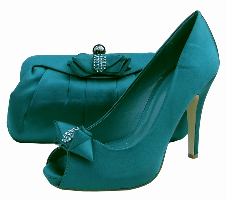 Menbur Avance Green Satin Peep Toe Evening Shoes
