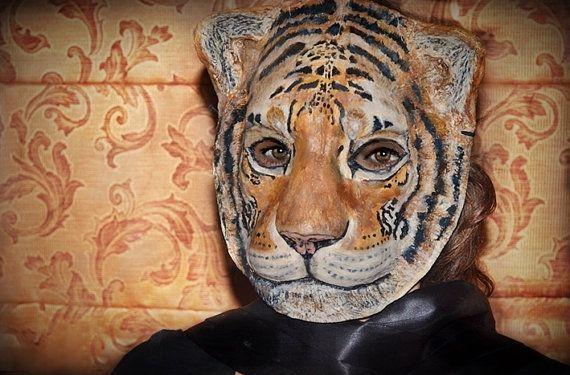 Tiger mask Masquerade mask  head Tiger costume Paper mache Tiger mask  Animal mask