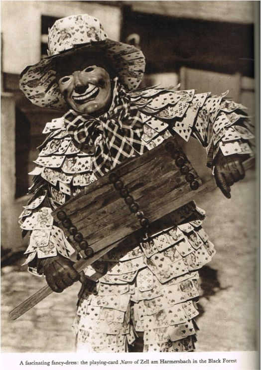 Hans Retslaff,  A masked  Narros of Laufenburg, carnival costume, playing cards, Geographical Magazine, March 1938