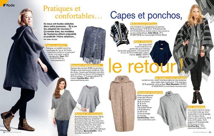 Le poncho en laine lambswool Bernard-Solfin recommandé par Nouvelle Vie Magazine.