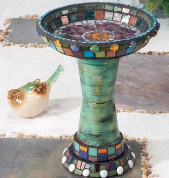Mosaic bird bath. Clay pot birdbaths on this site.