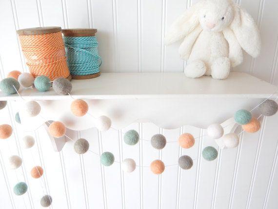 Peach Nursery Garland, Felt Ball Garland, Baby Nursery Decor, Pastel Garland, Pom Pom Garland, Bunting, Banner, Baby Shower, Peach, Aqua Mint Gray from theblushingfig.com