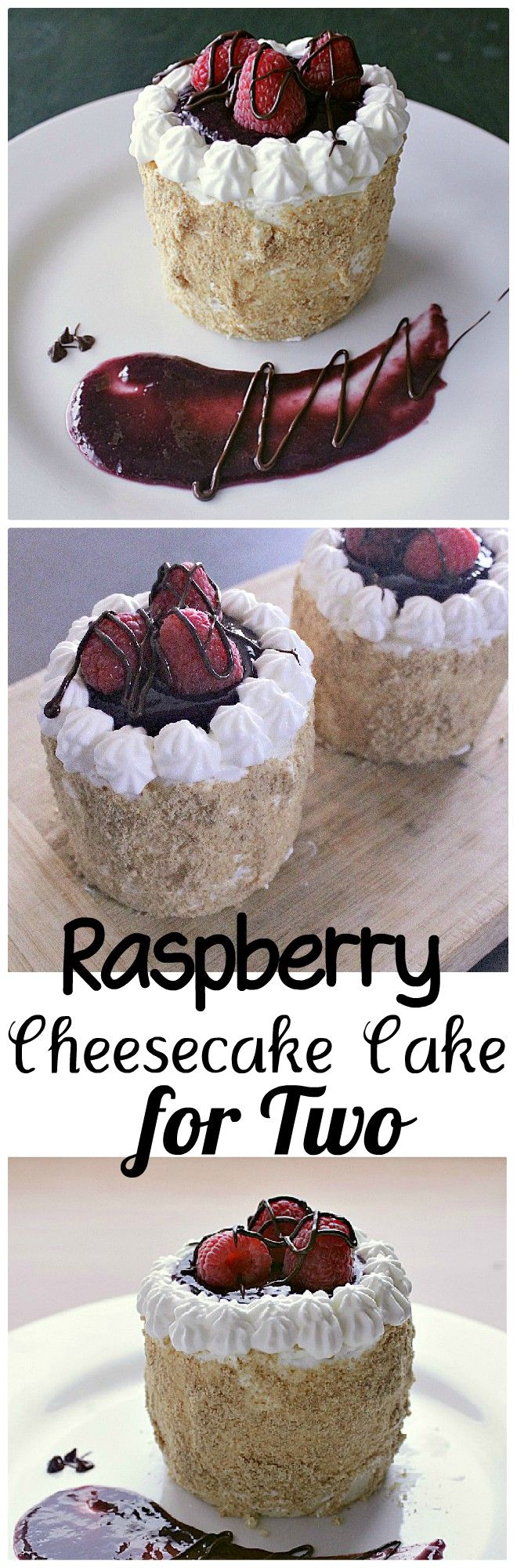 """Raspberry Cheesecake Cake for Two. Velvety cream cheese, sweet raspberry sauce and chocolate covered raspberries tie together to create a 3"""" circle of creamy perfection."""