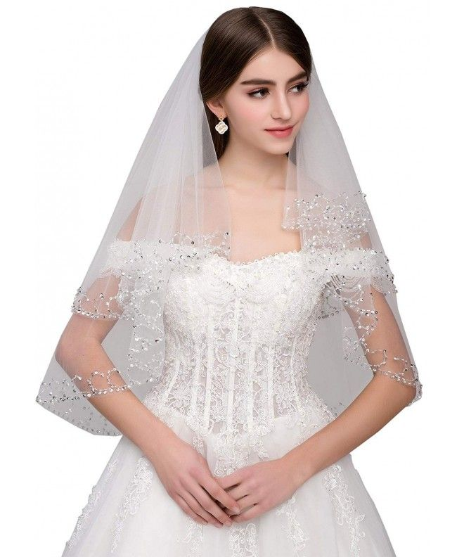 Elegant 2 Layer Lace Sequins Beaded Edge Bridal Wedding Veil with Comb 31.5