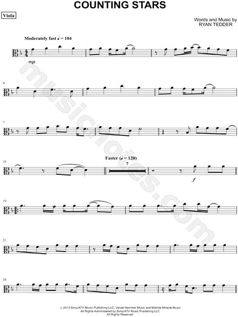 "OneRepublic ""Counting Stars - Viola"" Sheet Music in D ..."