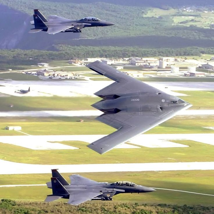 "339 Likes, 2 Comments - Military planes and choppers. (@instawarplanes) on Instagram: ""Two Boeing F-15E Strike Eagle and a Northrop Grumman B-2 Spirit of US Air Force flying in formation…"""