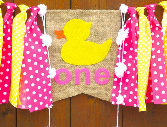 RUBBER DUCK Birthday Banner Highchair High Chair Nautical Pink Yellow Polka Dots First One Party Decor Ducky Bubbles Garland Cake Smash Prop by