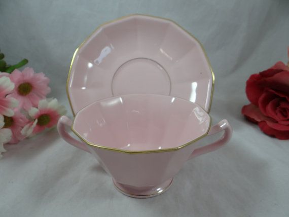 Vintage Schlaggenwald Czechoslovakia Pink  Footed Cream Soup Bouillon Bowl and Saucer