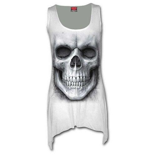 Solemn Skull, gothic metal fantasy schedel goth lange top jurk wit - XXL - Spiral