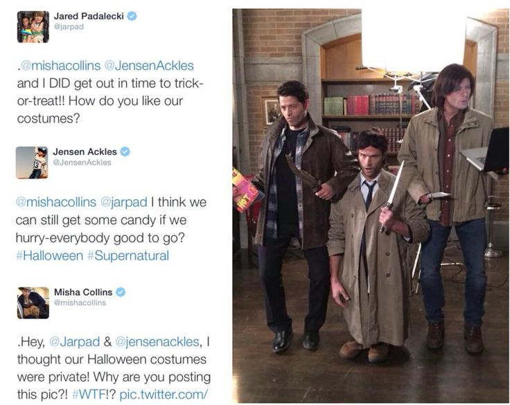 Perfect Halloween costumes! When I first saw this without the tweets, I thought it was photo shopped. Crazy guys! <3
