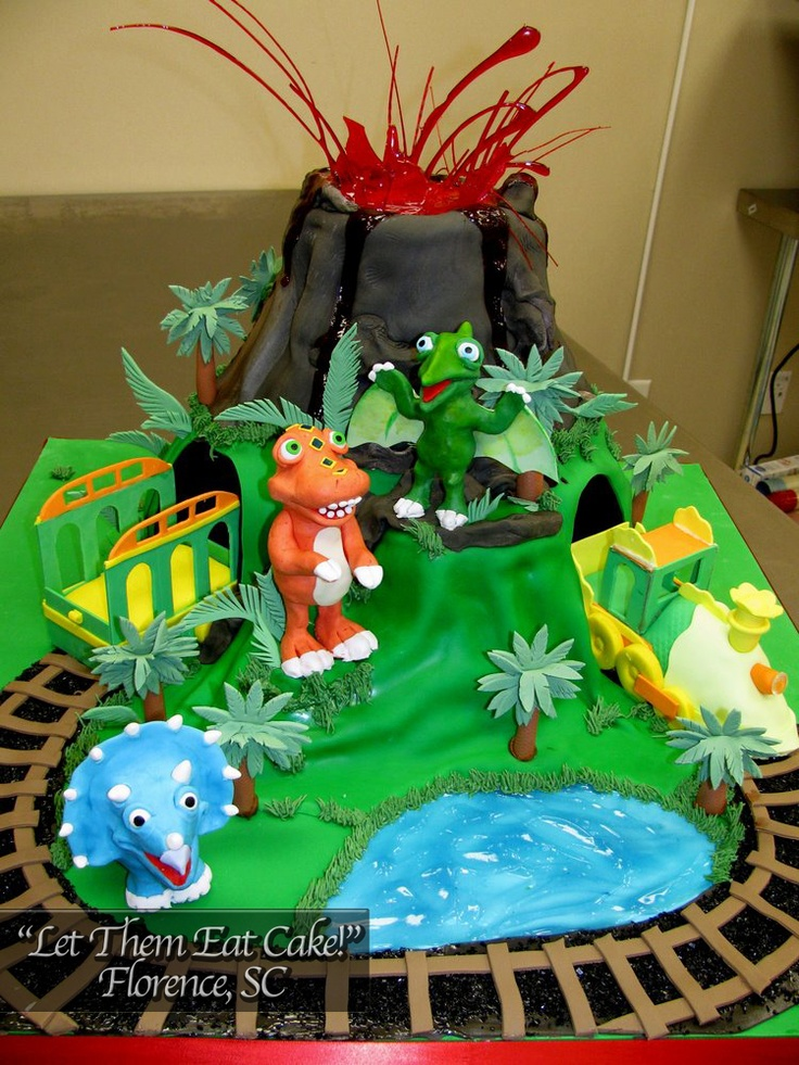 Birthday Cake With Dinosaurs And Trains And A Volcano