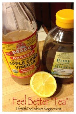 "Feel Better ""Tea"" - Cure a sinus infection naturally! ~8oz hot water ~3Tbsp Bragg's Apple Cider Vinegar ~a squeeze of lemon (optional) ~honey (of course, HONEY!! - also optional)"
