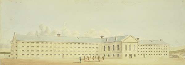 An 1859 watercolour of Fremantle Prison, by Henry Wray (1824-1900)