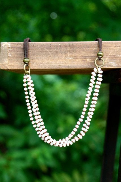 Cream Crystal & Leather Necklace