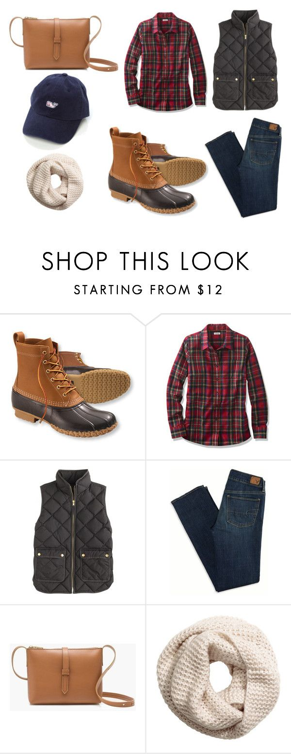 """""""Preppy Apple Picking Outfit"""" by ctpreppy ❤ liked on Polyvore featuring moda, L.L.Bean, J.Crew, American Eagle Outfitters, H&M, preppy e Prep"""