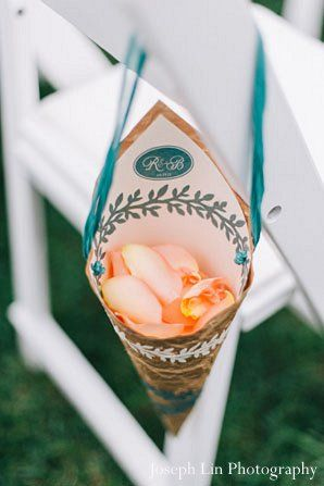 This Indian fusion wedding includes a beautiful outdoor ceremony followed by a fabulous blue and orange-themed reception!