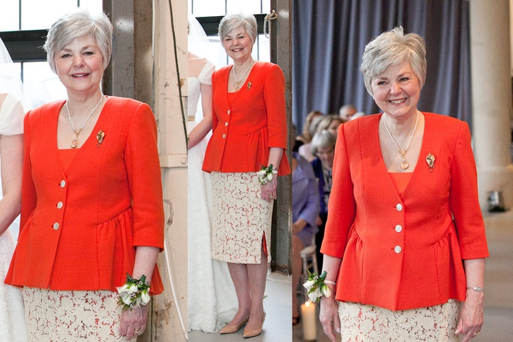 Bold, bright coral suit jacket with an elegant lace skirt is the perfect look for this mother of the bride! MOB Susan worked with Janice to create the perfect look! Ensemble by Janice Martin Couture - www.janicemartin.net Photographs by Julie Melton/Sweetwater Portraits www.sweetwaterportraits.com