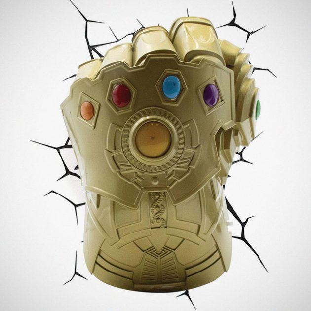 Infinity Gauntlet 3d Wall Light Decoracao Quarto Herois Foto 3d Quadro Super Herois