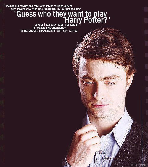 Daniel Radcliffe on when he got the role of Harry Potter. I think I'm going to cry.