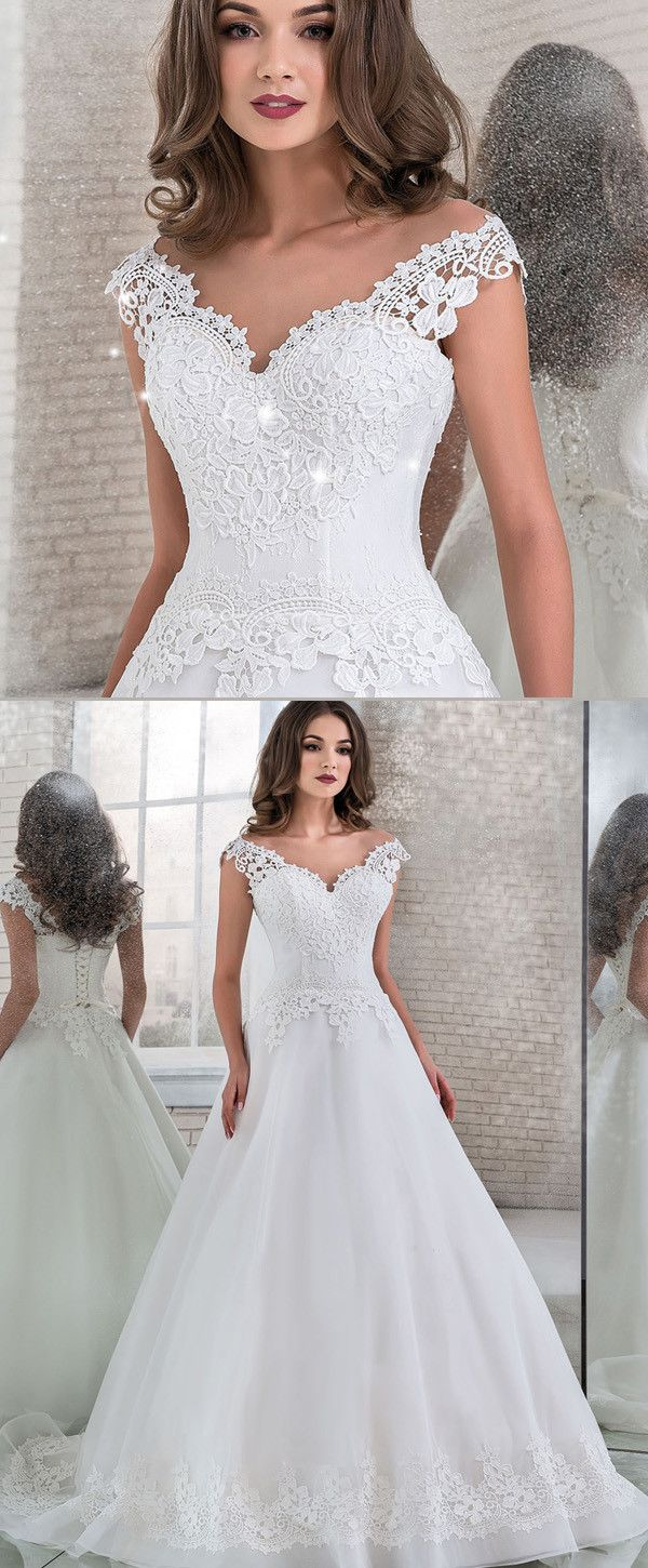 Charming Tulle & Lace Sheer Jewel Neckline A-line Wedding Dress With Lace Appliques