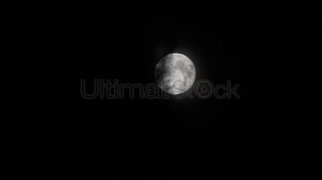Full moon obscured by clouds