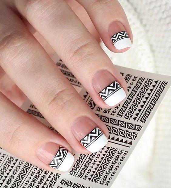 #manicura #blanco y #negro #geometría