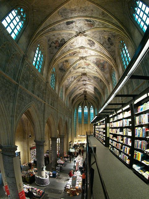 The Heavenly Bookshop, Maastricht. An old church has been converted into a bookshop (Selexyz Dominicanen), Netherlands.