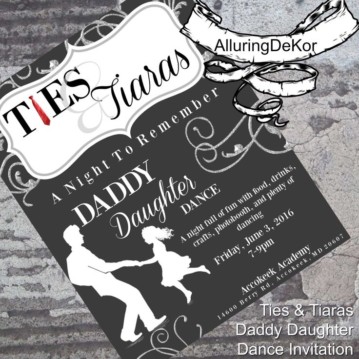 Daddy Daughter Dance: Ties & Tiaras Ball Invitation by AlluringDeKor on Etsy https://www.etsy.com/listing/384341726/daddy-daughter-dance-ties-tiaras-ball