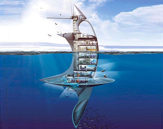 SeaOrbiter to begin construction by year's to come and for the future. The ship is slated to measure 170 feet (51 meters) tall, but to stabilize the vessel over half of the vessel would stay below the surface, providing all sorts of collection systems and useful tools. Not only does it look like something out of Minority Report, but the SeaOrbiter is 100% sustainable. The ship's power is set to come from solar, wind and wave power with biofuel in an emergency.