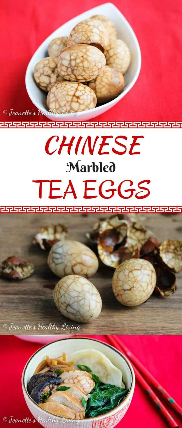 Marmorede æg med the og soya - Chinese Marbled Tea Eggs - these beautiful eggs are flavored with star anise and soy sauce ~ http://jeanetteshealthyliving.com