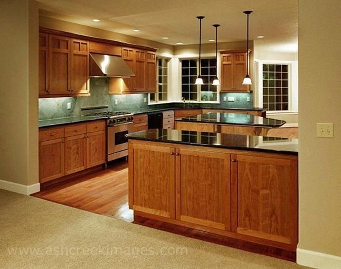 Black granite countertops with oak kitchen cabinets for Kitchens with dark counters