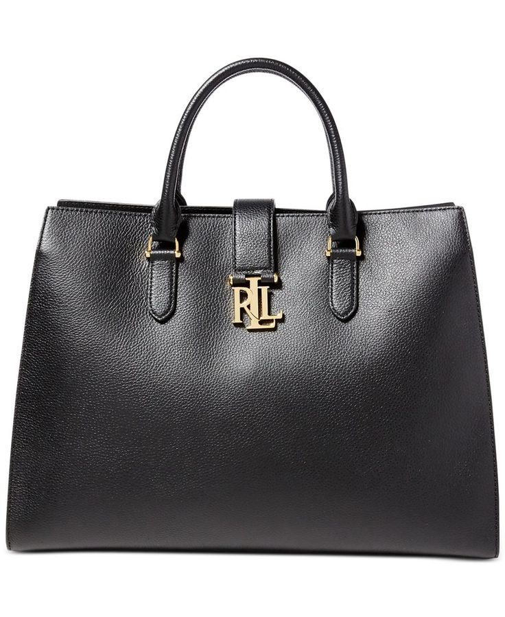 """Pebbled leather and a gold-toned """"Lrl"""" plaque make this perfectly sized tote by Lauren Ralph Lauren a chic style to wear from work to happy hour. 