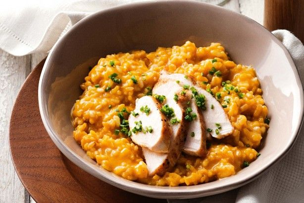 This pumpkin risotto uses a combination of pearl barley and rice to give it a delicious texture.