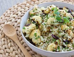 warm cauliflower & israeli couscous salad :: i'm going to try this with rice or quinoa