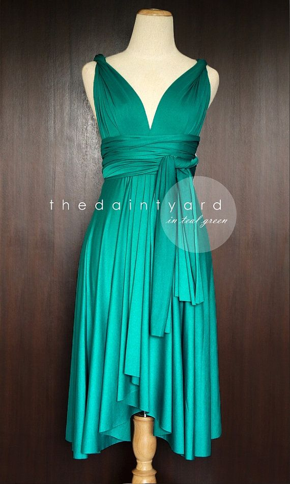 Teal Green Bridesmaid Convertible Dress Infinity by thedaintyard it would b cool to have each bridesmaid style theirs differently