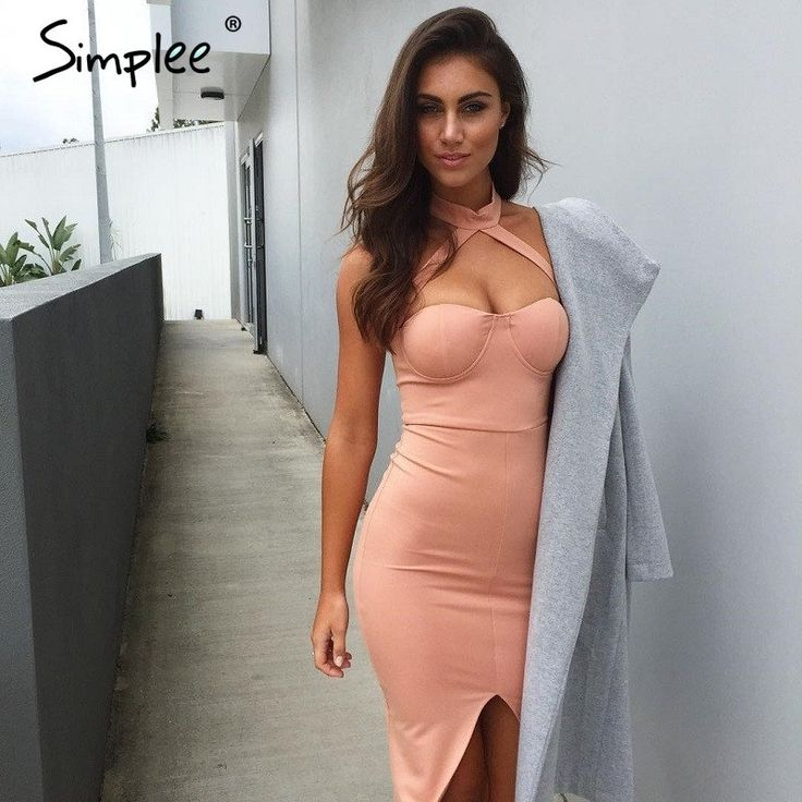 Simplee Elegant halter pink bandage dress women Sexy front split evening party bodycon dresses Strapless club vestidos