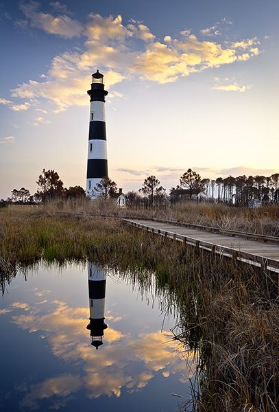 The historic Bodie Island Lighthouse on the Cape Hatteras National Seashore on the Outer Banks of NC