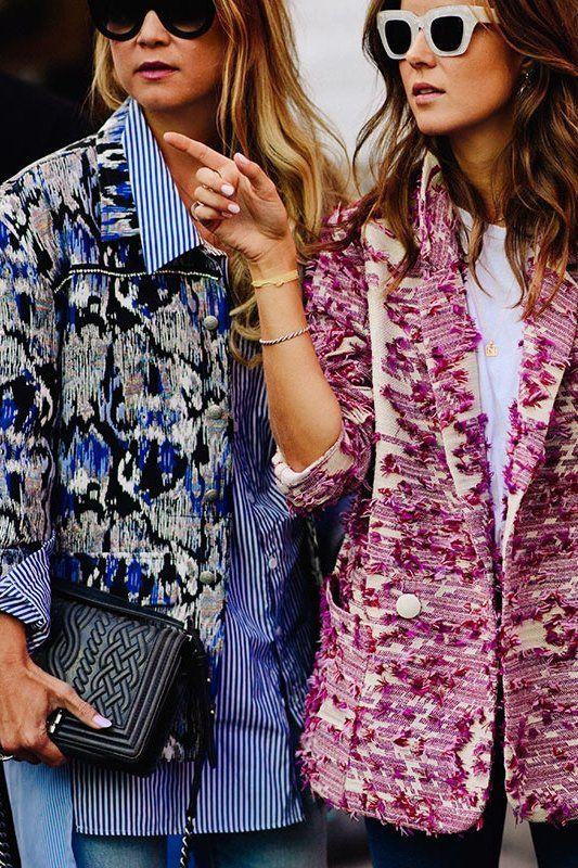 Oslo street style printed textured blazer jeans line langmo nina sandbech