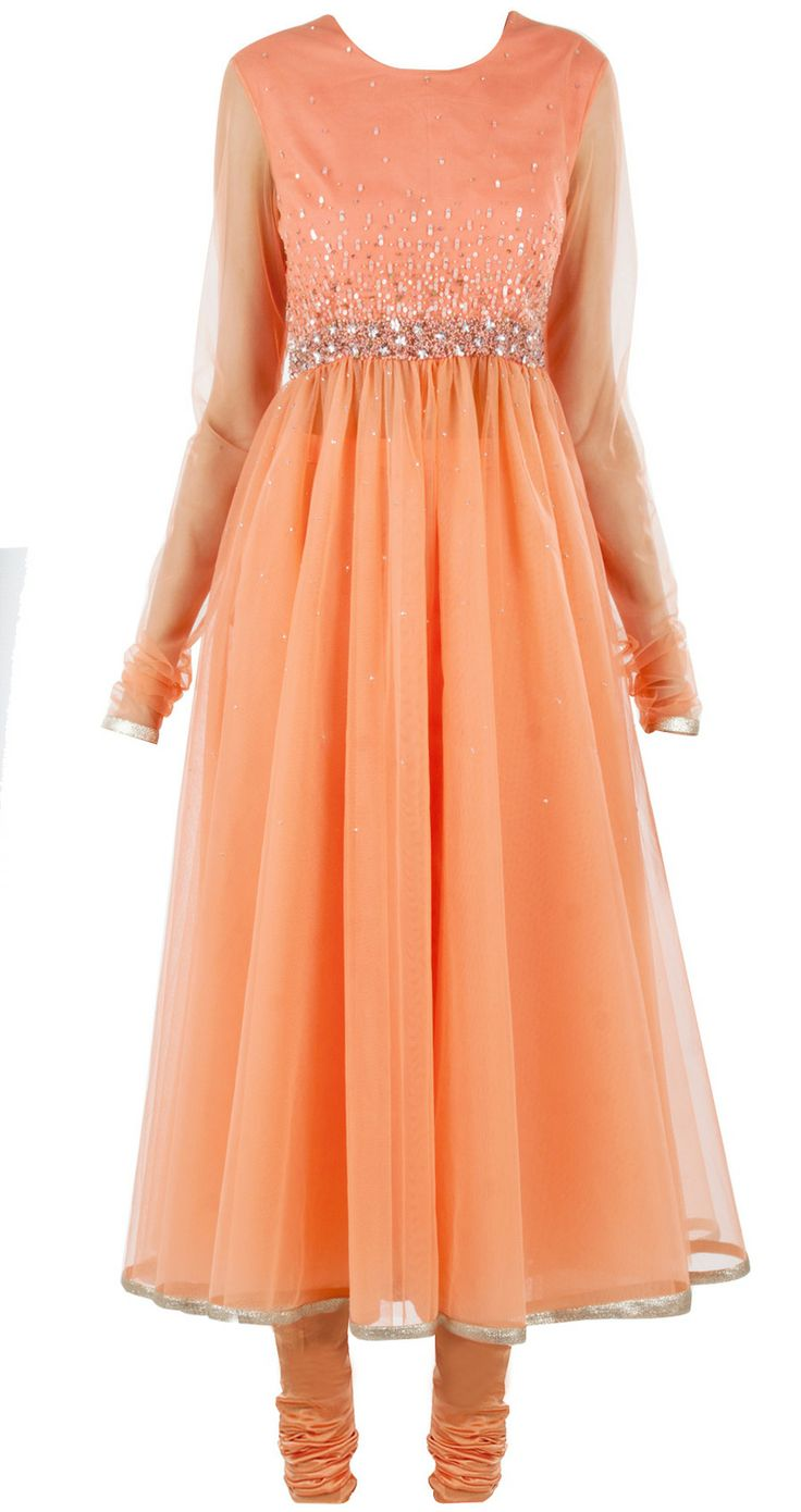 Peach embellished anarkali set by PERNIA QURESHI available only at Pernia's Pop-Up Shop. Shop now at perniaspopupshop.com