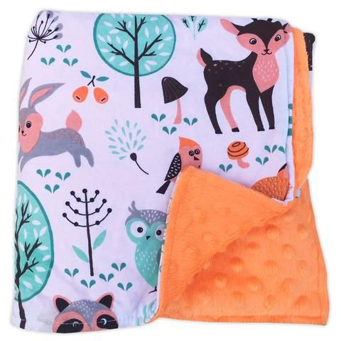 Woodland Fox Orange Minky Blanket