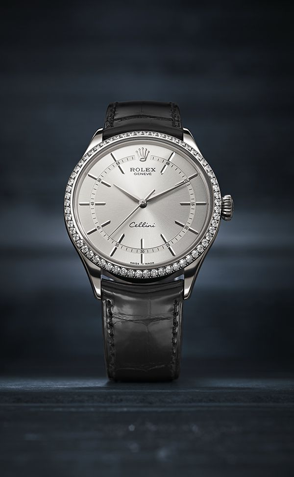 The new Rolex Cellini Time in 18 ct white gold with a bezel set with 62 diamonds and a rhodium dial. This new model reinterprets the timeless codes of classic watchmaking with an elegant modernity. #RolexOfficial #Baselworld