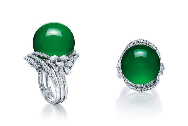 20mm Jadeite Sphere, Round Brilliant Cut and Pear Shaped Diamonds and 18K White Gold Ring