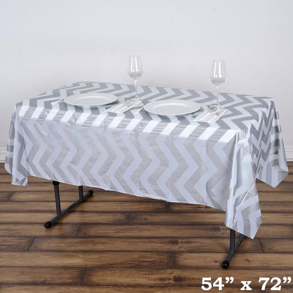 54 X 72 Silver 10 Mil Thick Chevron Waterproof Tablecloth Pvc Rectangle Disposable Tablecloth Plastic Table Covers Plastic Tables Table Covers