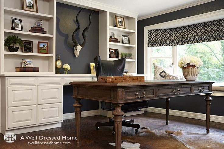 A Masculine Home Office Remodel, designed by A Well Dressed Home. LLC. Read more about this project here: http://awelldressedhome.com/3535-before-after-a-masculine-home-office/
