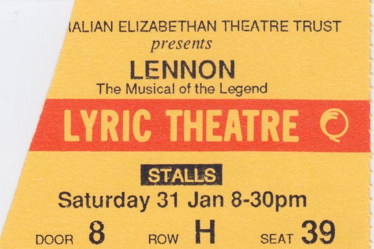 Lennon The Musical of the Legend, Lyric Theatre, Brisbane, 1987.