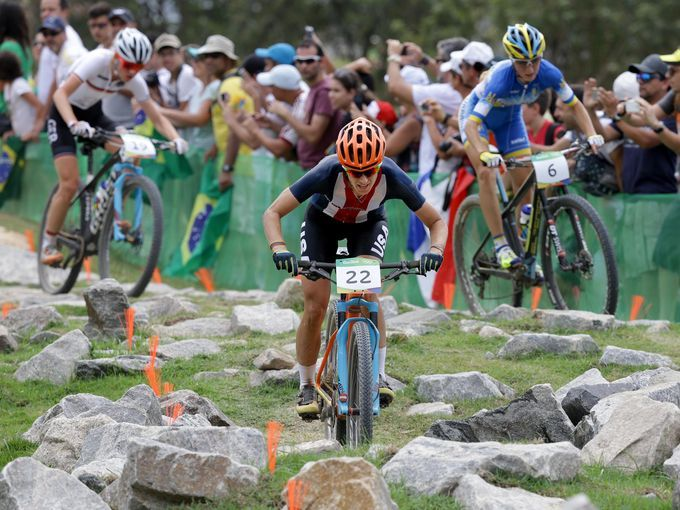 Lea Davison of the United States competes in the women's