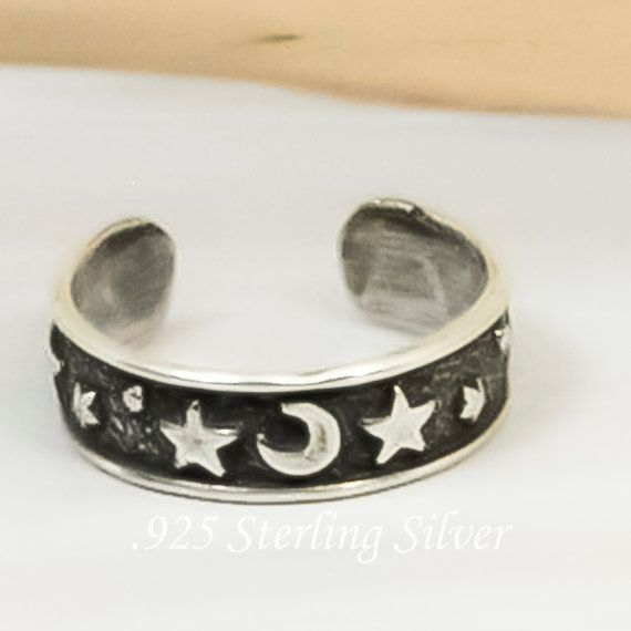 Moon & Star Adjustable Toe Ring  925 Sterling by celebrityfashions, $7.15